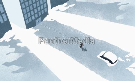 high angle view of man walking