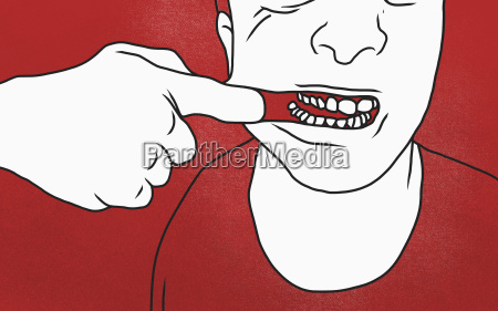 midsection of man pulling mouth against
