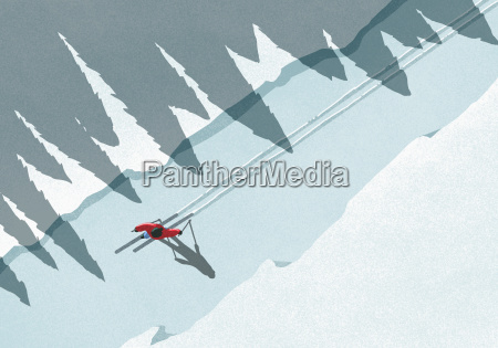 illustration of man skiing during winter