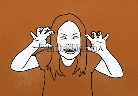 illustration of woman clenching teeth while
