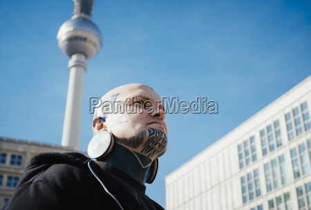 low angle view of man with