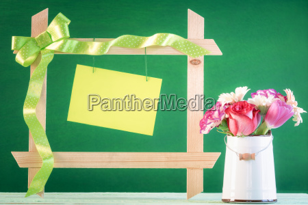 flowers and frame with message card