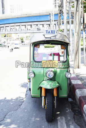 thailand bangkok green tuk tuk vehicle