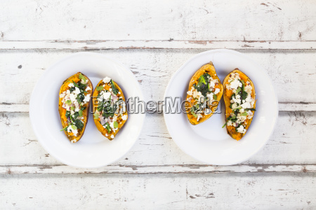 filled sweet potato with spinach red