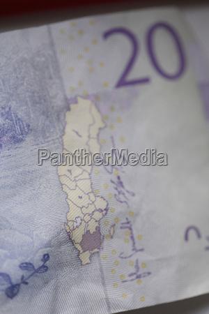 close up of 20 swedish kronas