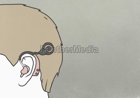 cropped image of man wearing hearing