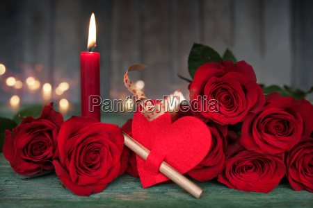 beautiful romantic still life for valentines