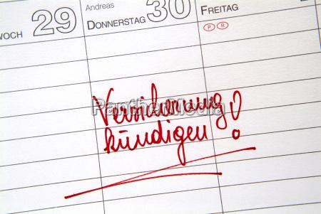 notiz am kalender versicherung kundigen