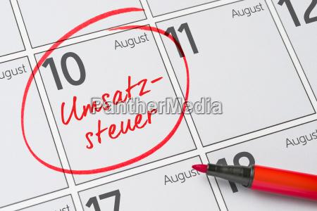 umsatzsteuer 10 august