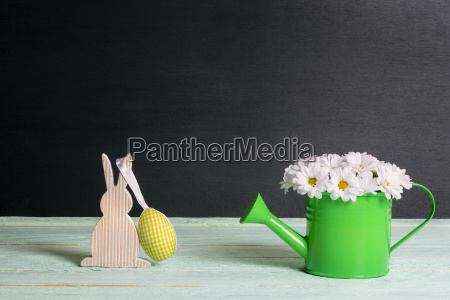 daisies bouquet and a bunny with