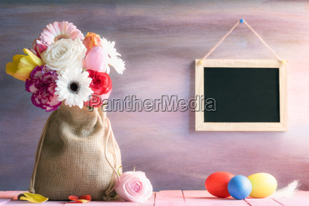 flower bouquet with painted eggs and
