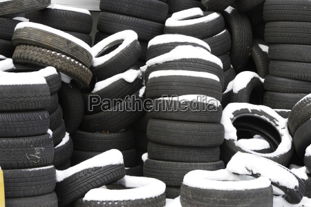 old tires in the snow