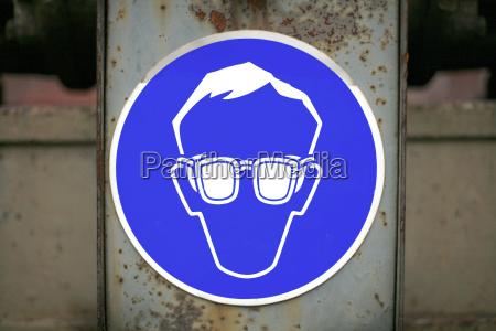 schild vorschrift schutzbrille tragen
