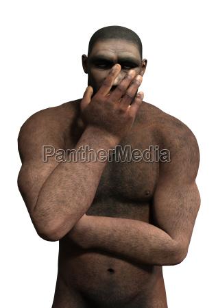 3d rendering homo erectus auf weiss