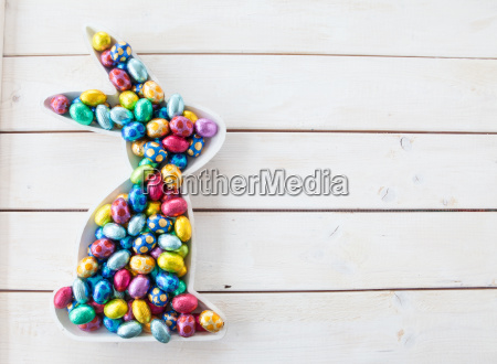 colorful easter eggs made of chocolate