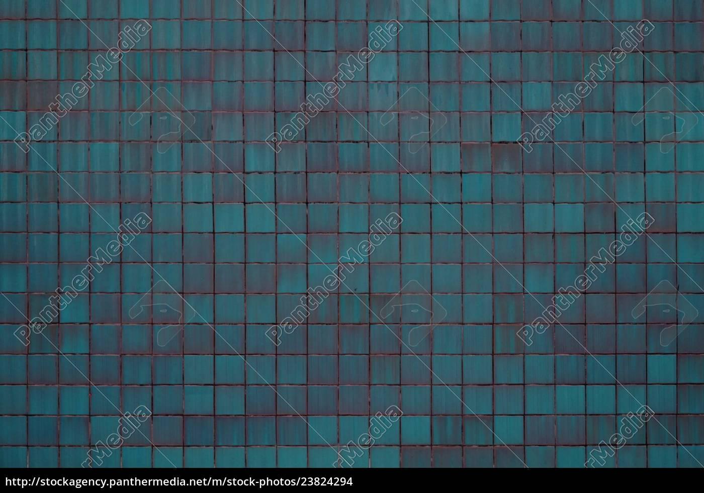 Blau Turkise Hintergrund Wand Mit Fliesen Stock Photo 23824294