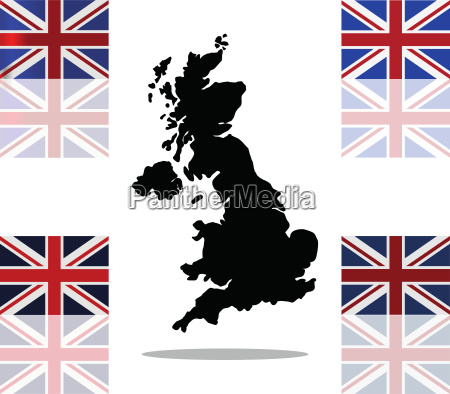 grossbritannien karte mit flagge