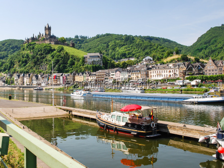 waterfront of cochem city in summer