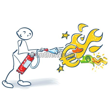 strichmaennchen mit feuerloescher und brennenden euro