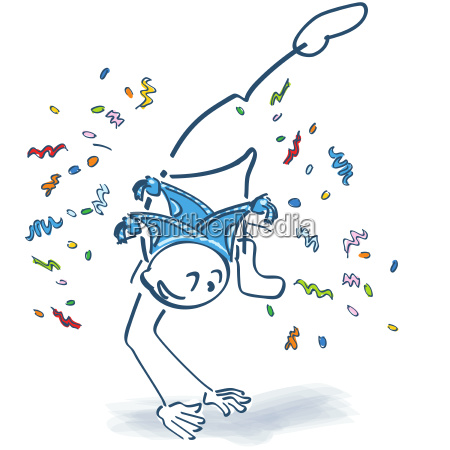 strichmaennchen macht zum karneval einen sprung