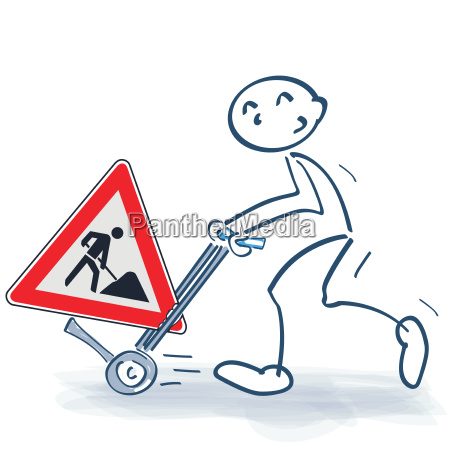 stick figure with sack truck and
