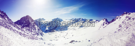 panorama landscape of alpine mountains on