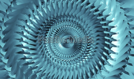 inside metalic light blue tunnel abstract