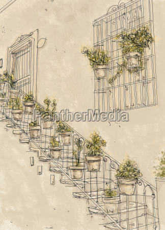 house with stairway and plants vintage