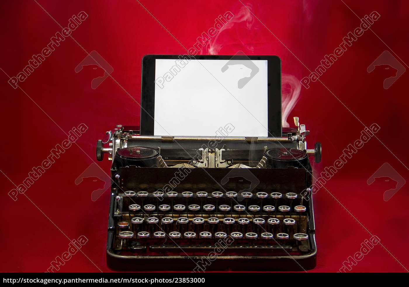 nostalgische, schreibmaschine, mit, tablet - 23853000