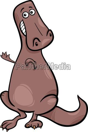cartoon illustration of funny dinosaur character