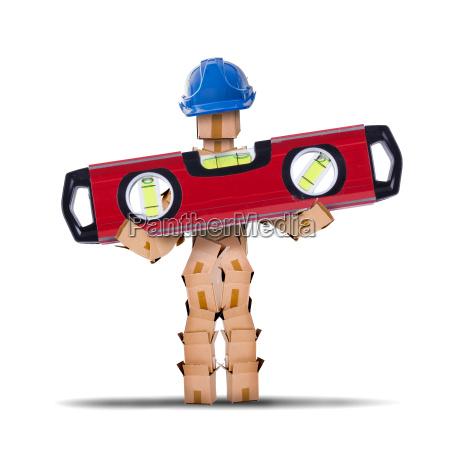 box charakter arbeiter mit einer wasserwaage