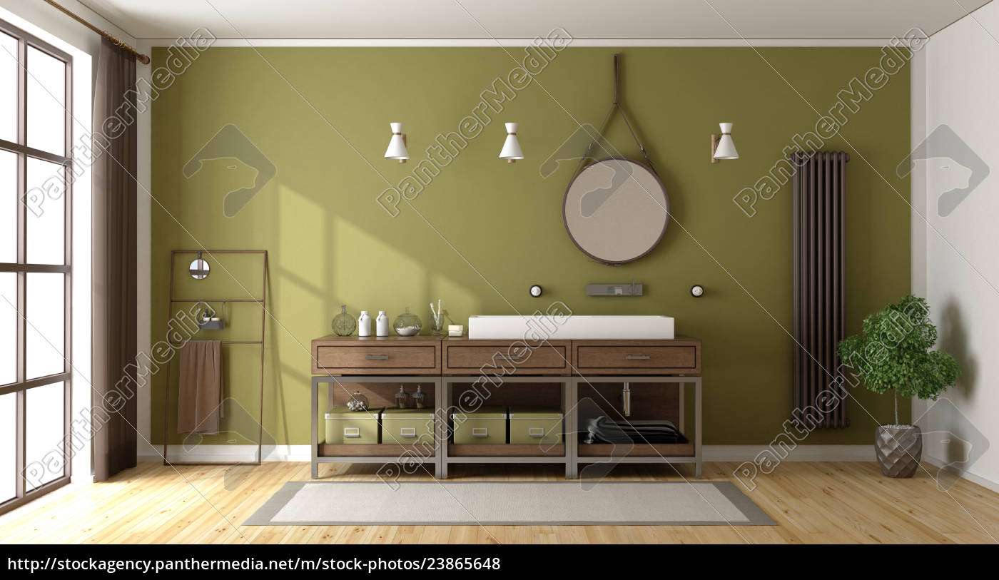 grünes badezimmer mit waschbecken   Lizenzfreies Foto   20 ...