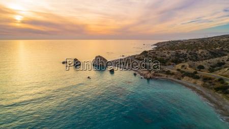aerial petra tou romiou paphos cyprus