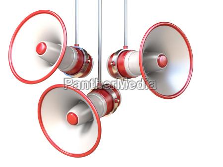 drei rote und weisse megaphone 3d
