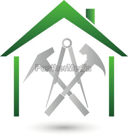 haus dach werkzeuge dachdecker logo