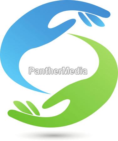 two hands helper paragraf sign logo