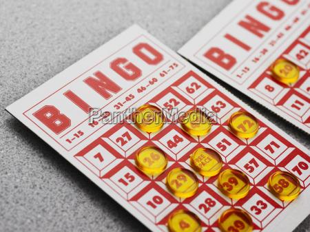 stillleben der bingokarte