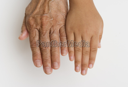 close up of childs hand next