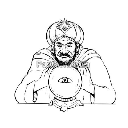 fortune teller kristall kugel zeichnung