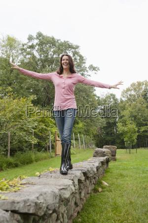 usa new jersey woman balancing on