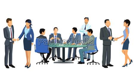 begruessung im team illustration