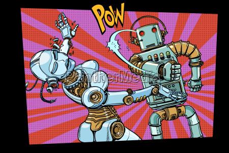 maennliche und weibliche roboter im kampf