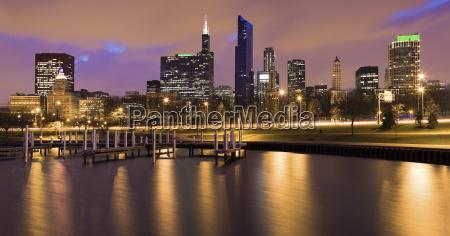 usa illinois chicago city skyline and