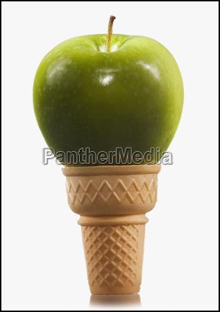 green apple in an ice cream