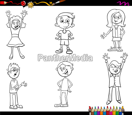 cartoon children characters coloring book
