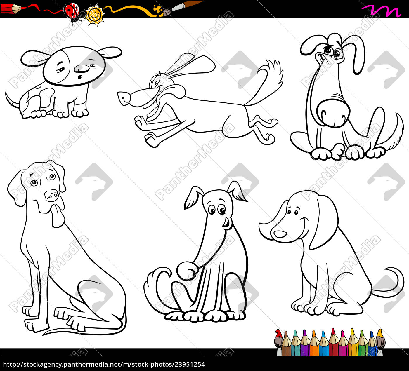 comic dog characters coloring book - Stock Photo - #23951254 ...