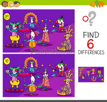 differences game with clown characters