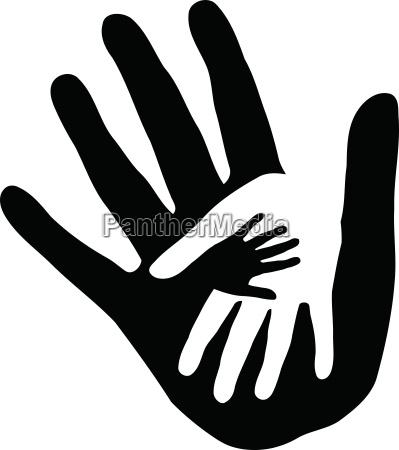 three hands sticker label family logo
