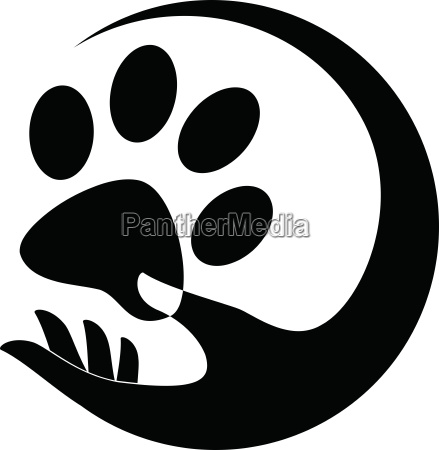 cats paw and hand sticker label
