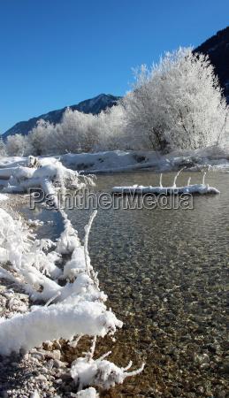 isar isarwinkel upper bavaria ice snow
